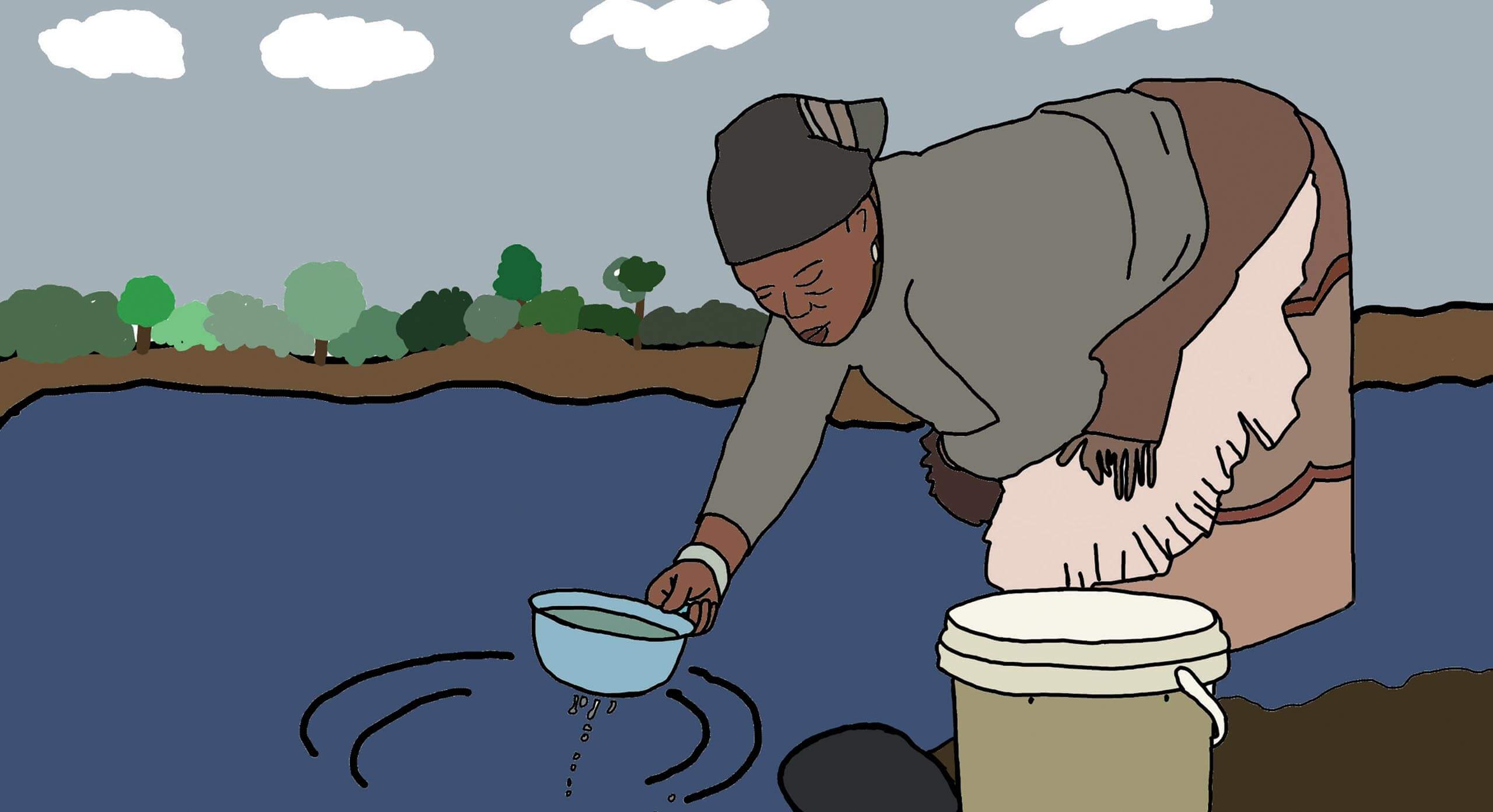 An illustration of a woman gathering water