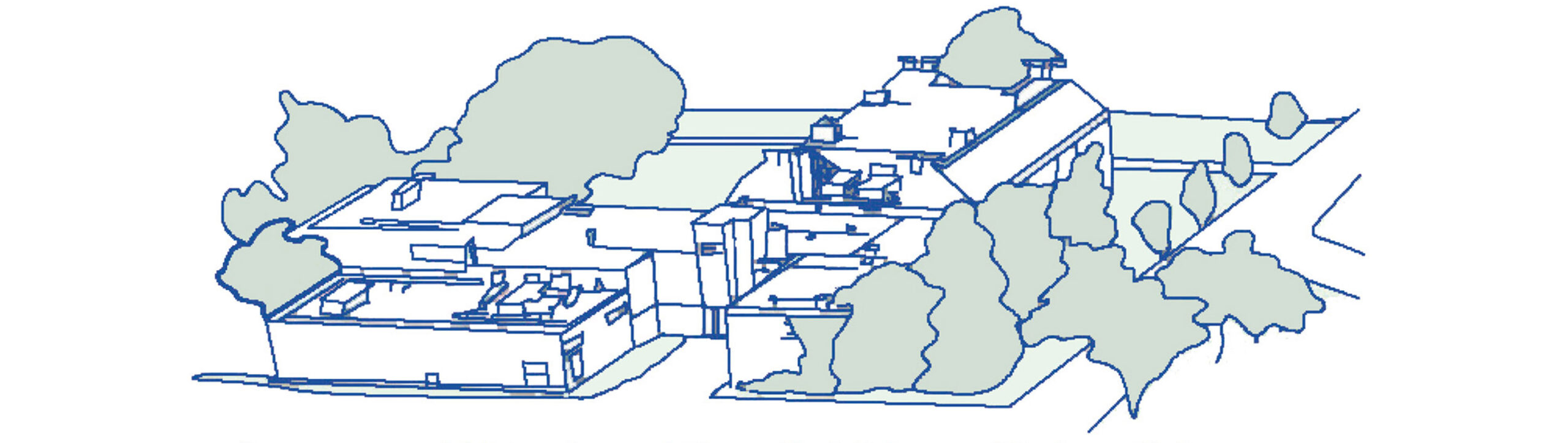 Line drawing of the Department of Molecular and Biomedical Sciences, Hitcher Hall