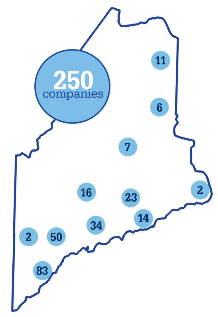 Maine map with companies information