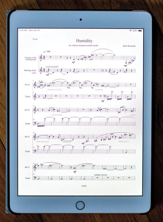 Music on a tablet