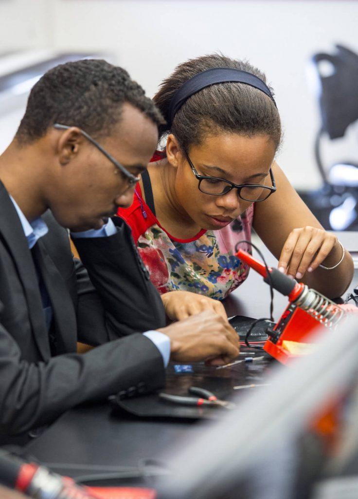 Mandela Fellows working on solar panels