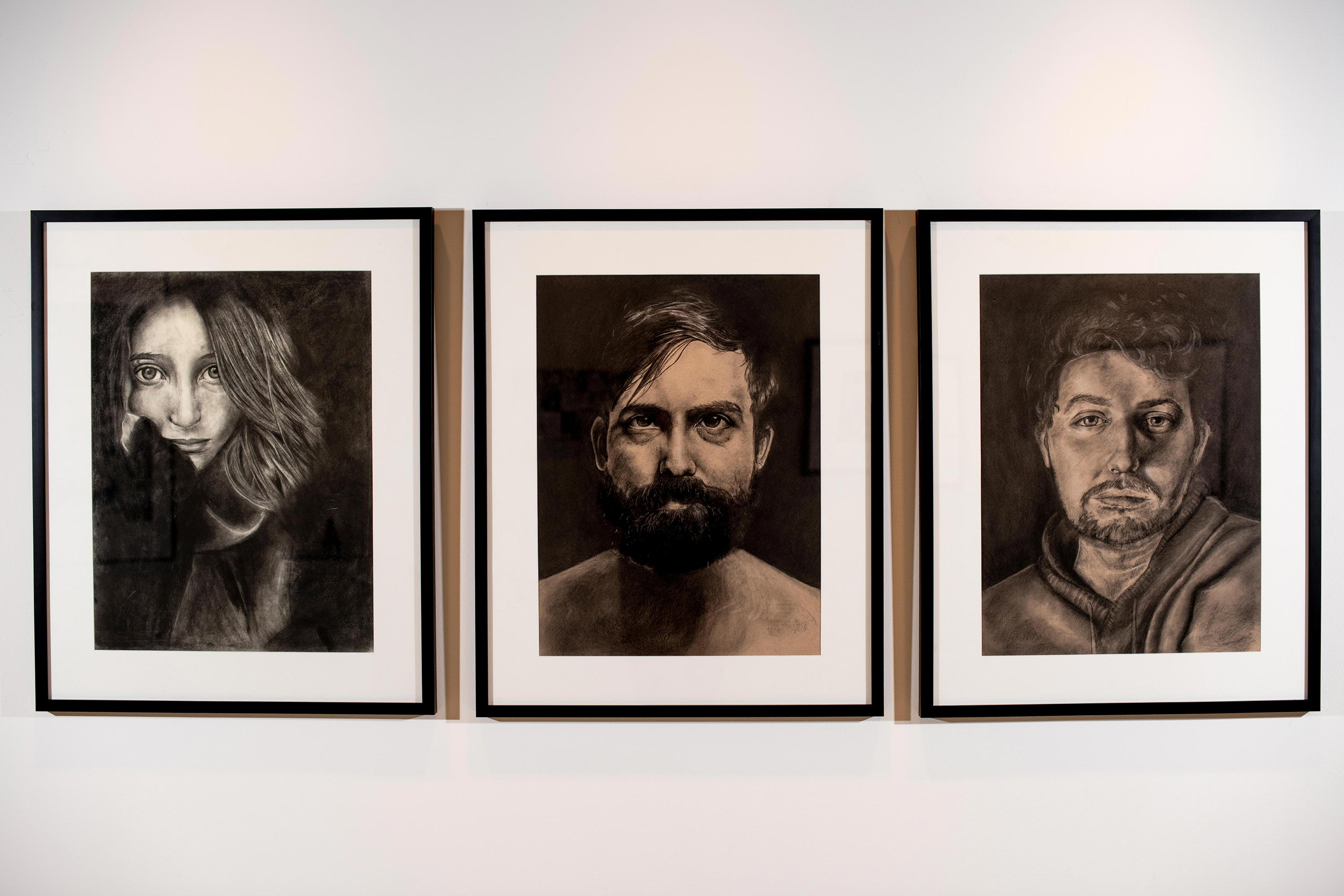 (from left to right) I.S., A.C.P., C.A.F. by Maya Silver [Charcoal/Paper, 2015-2018]