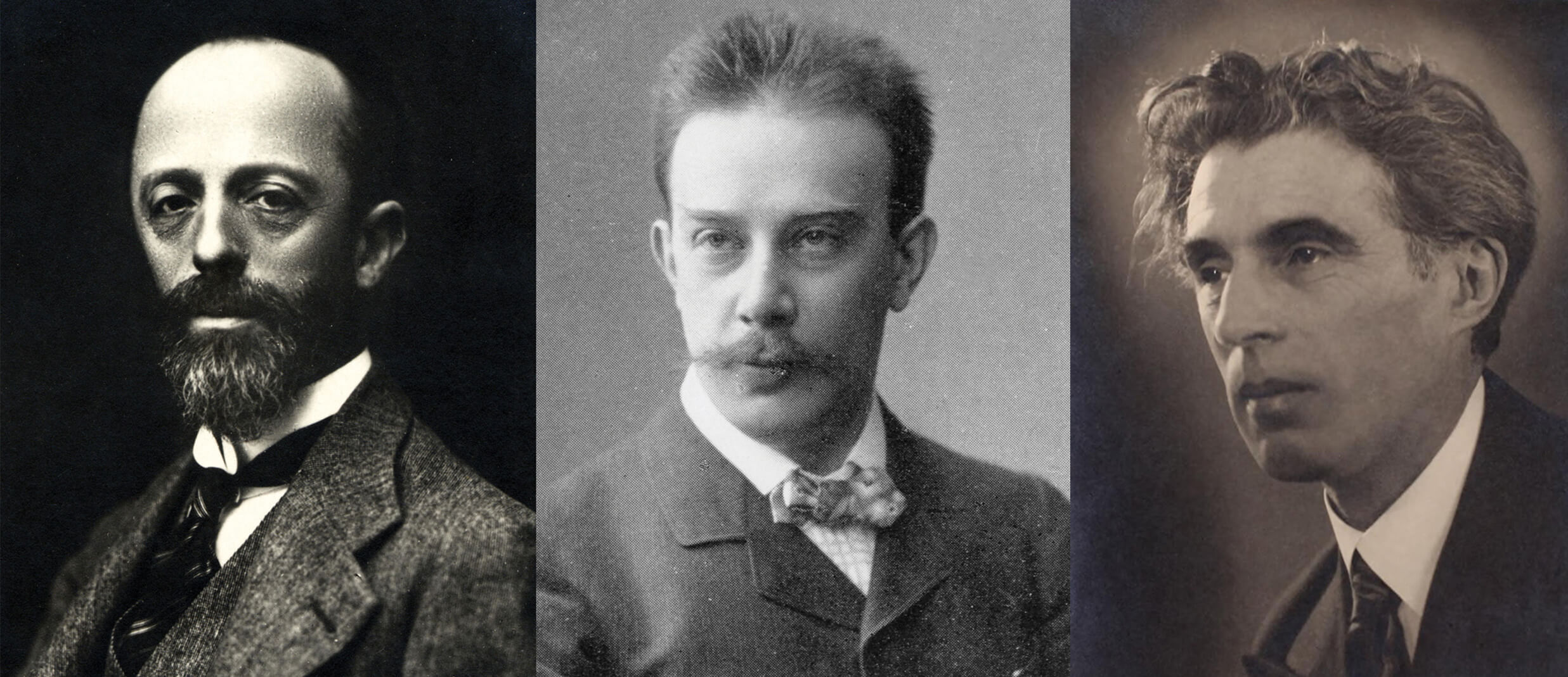 UMaine professor of music Phillip Silver has recovered and recorded lost works of Italian-Jewish composer Leone Sinigaglia, left, and German-Jewish composer Bernhard Sekles, whom historians credit with the birth of jazz as an academic subject.