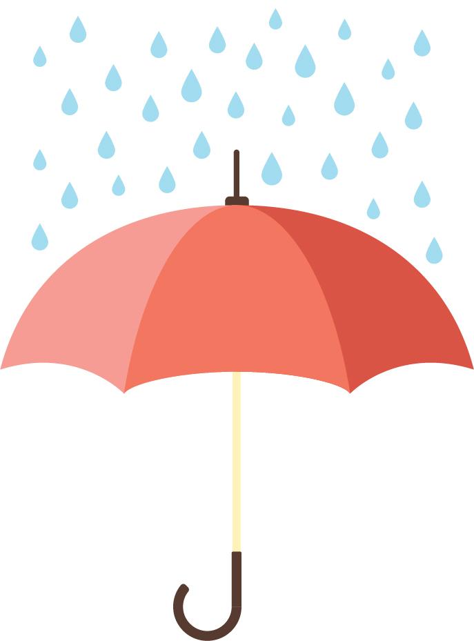 Umbrella and rain graphic
