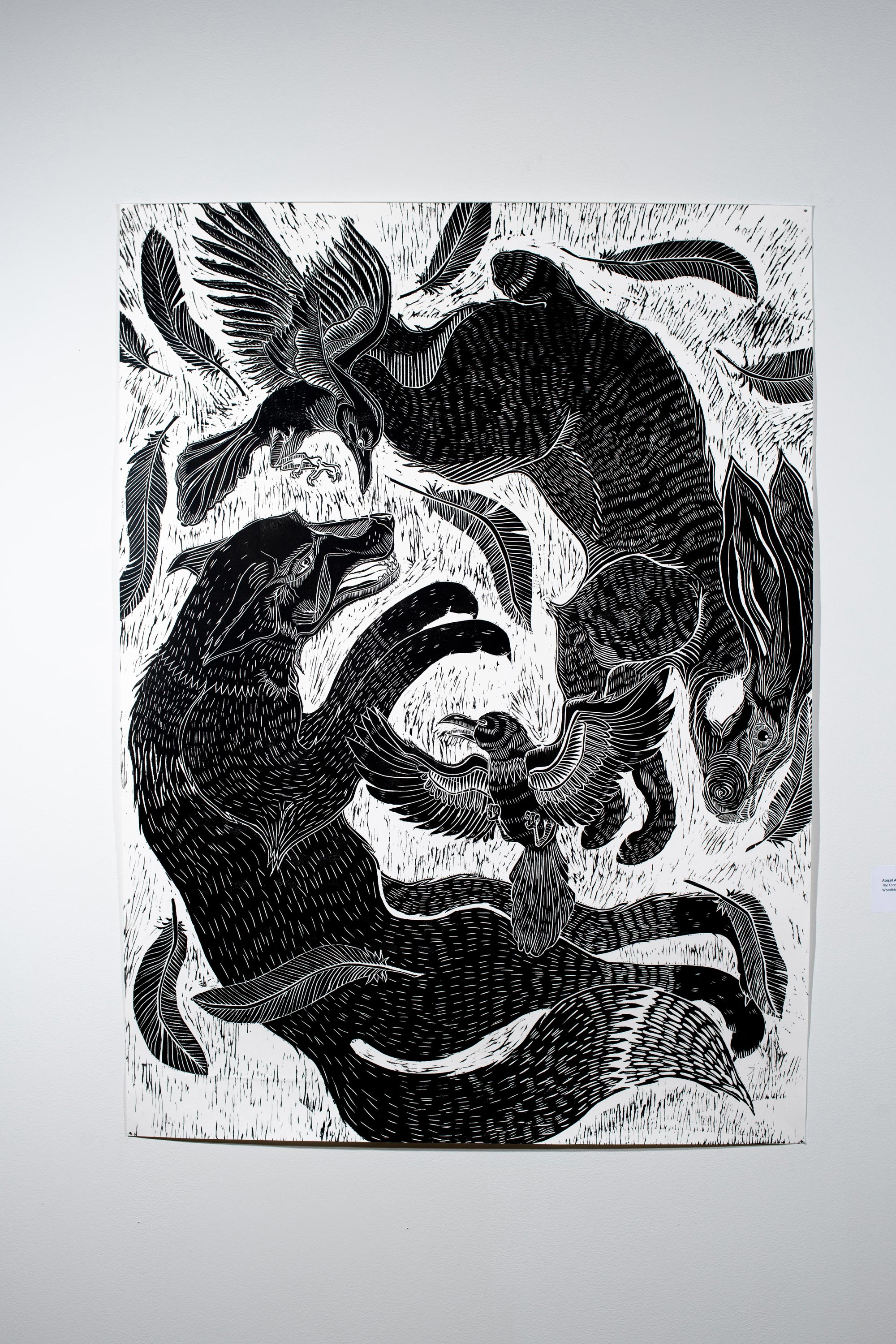 The Forest and The Flock by Abigail Annis [Woodblock Print, 2018]