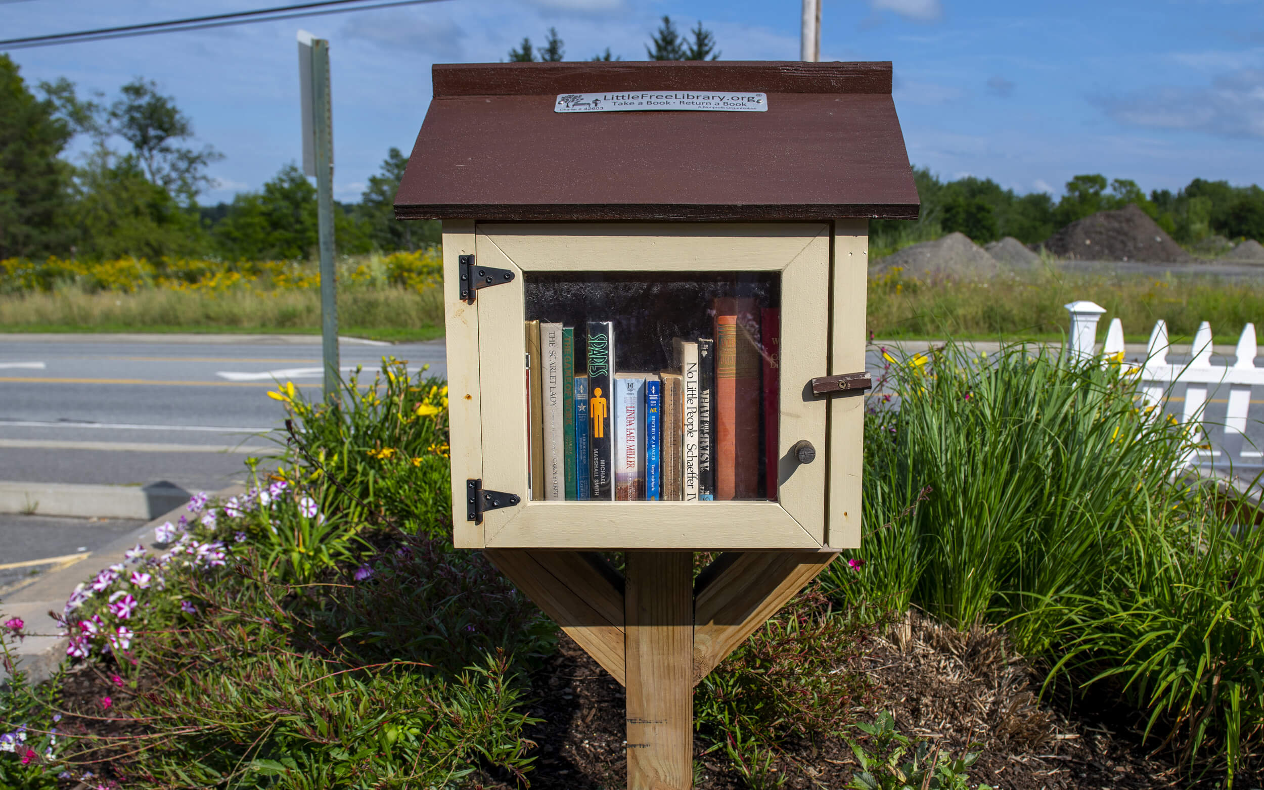 A Little Free Library houses used books in Old Town