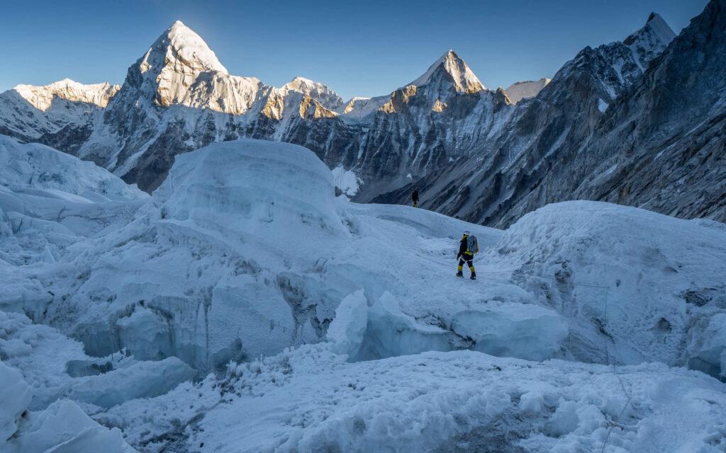 Climbers on a glacier