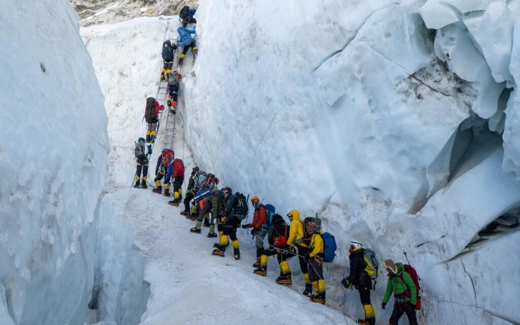 Climbers on the Khumbu Icefall