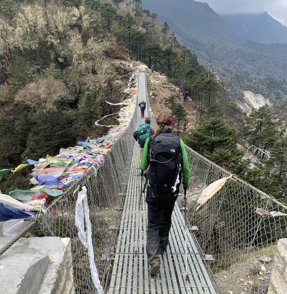 Researches crossing a bridge