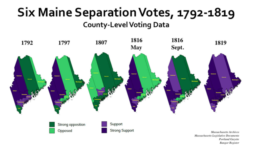 Maps of statehood voting results from 1792 to 1819