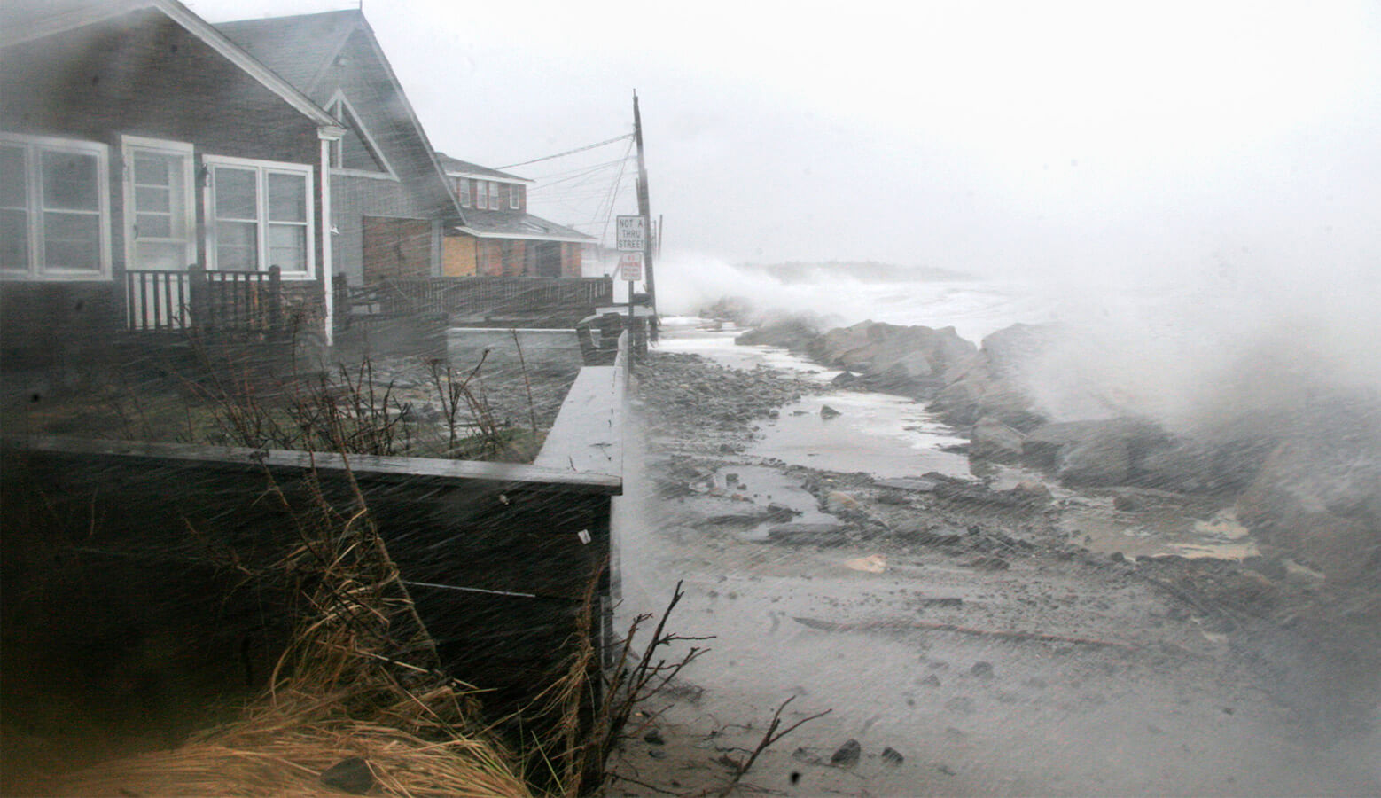 A storm batters the Maine coast