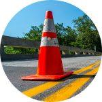 Maine bridge with traffic cone